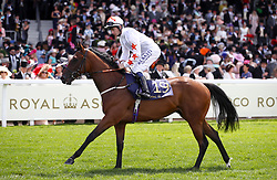 Signora Cabello ridden by Jockey Oisin Murphy goes to post for the Queen Mary Stakes