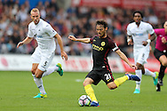 David Silva of Manchester city © in action. Premier league match, Swansea city v Manchester city at the Liberty Stadium in Swansea, South Wales on Saturday 24th September 2016.<br /> pic by Andrew Orchard, Andrew Orchard sports photography.