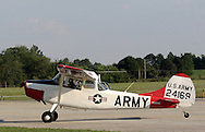 Montgomery, NY - A pilot taxis a Cessna 305A single-engine plane on the runway at Orange County Airport on July 25, 2008.