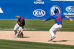 March 18, 2018 - Las Vegas, NV, U.S. - LAS VEGAS, NV - MARCH 18: Drew Maggi (70) of the Indians fields a ground ball as Chesny Young (85) of the Cubs tries to avoid the tag during a game between the Chicago Cubs and Cleveland Indians as part of Big League Weekend on March 18, 2018 at Cashman Field in Las Vegas, Nevada. (Photo by Jeff Speer/Icon Sportswire) (Credit Image: © Jeff Speer/Icon SMI via ZUMA Press)