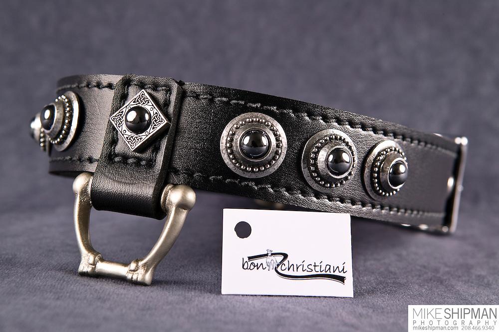 Jennifer Christiani dog collar product,  leash attachment point with logo card