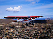 Hollis Twitchell about to land on ridge top airstrip in foothills of the Alaska Range above Bear Creek in Lake Clark National Park's Office of Aircraft Service's PA18 Super Cub, Alaska.