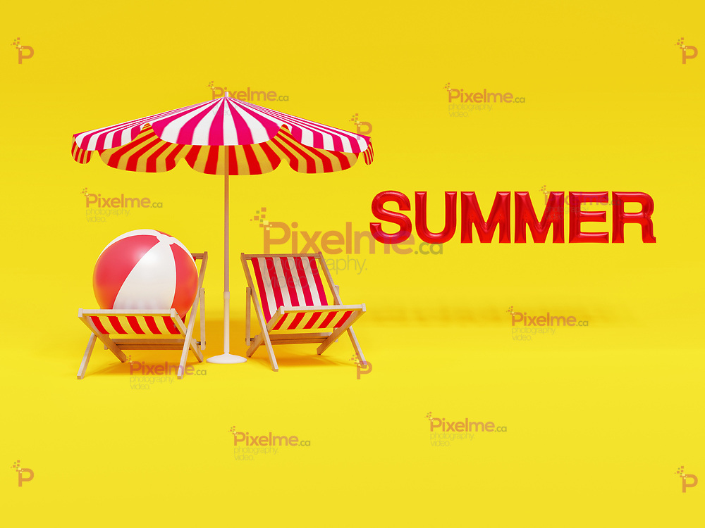 Beach chairs with and umbrella and a beach ball in a yellow vibrant background with the summer letters at the side - 3d rendering concept