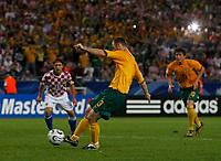 Photo: Glyn Thomas.<br />Croatia v Australia. Group F, FIFA World Cup 2006. 22/06/2006.<br /> Australia's Craig Moore equalises from the penalty spot.