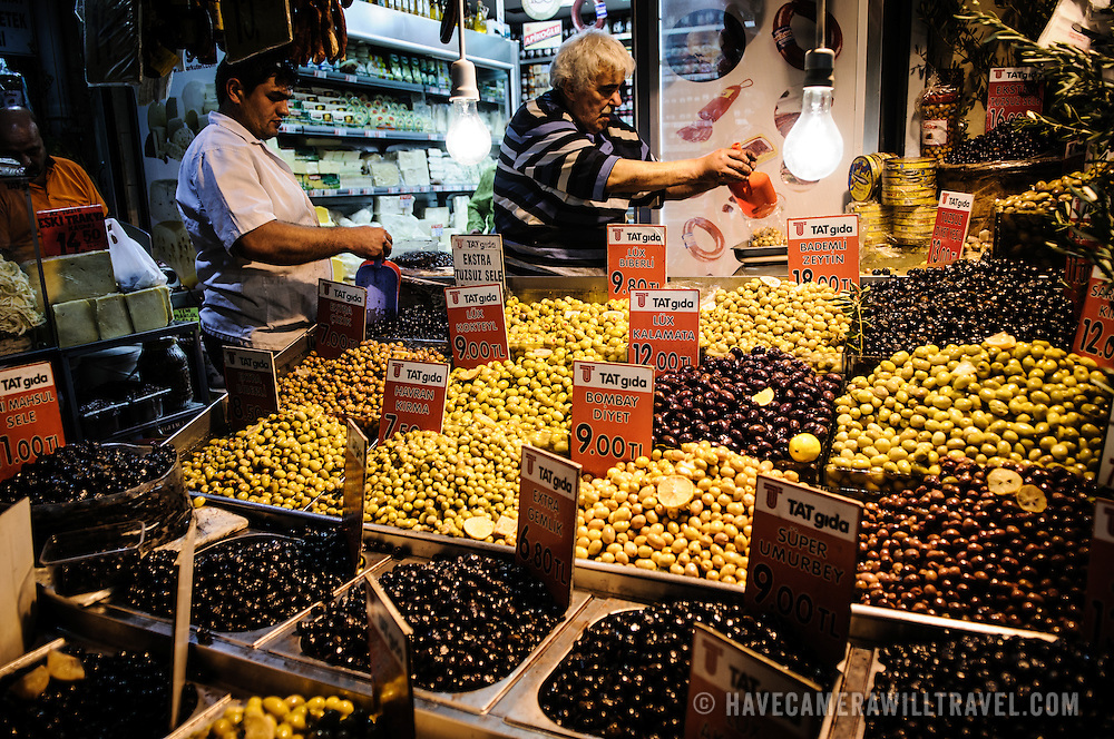A variety of olives on sale at a store just outside the Spice Bazaar (also known as the Egyption Bazaar) in Istanbul, Turkey.