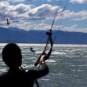 Kitesurfers Tahunanui Beach, Nelson