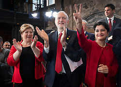 © Licensed to London News Pictures. 31/10/2019. London, UK. Shadow Cabinet members Emily Thornberry (L) and Baroness Chakrabarti applaud with Labour Party Leader Jeremy Corbyn (C) during during an election campaign rally at Battersea Arts Centre. Photo credit: Peter Macdiarmid/LNP