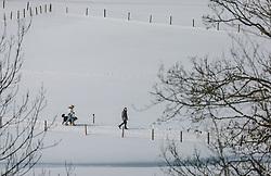 THEMENBILD - Spaziergänger gehen mit einem Hund auf dem Winterwanderweg, aufgenommen am 06. Februar 2020 in Kaprun, Oesterreich // Walkers walk with a dog on the winter hiking trail, in Kaprun, Austria on 2020/02/06. EXPA Pictures © 2020, PhotoCredit: EXPA/Stefanie Oberhauser
