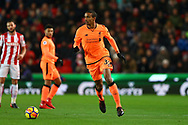 Joel Matip of Liverpool in action. Premier league match, Stoke City v Liverpool at the Bet365 Stadium in Stoke on Trent, Staffs on Wednesday 29th November 2017.<br /> pic by Chris Stading, Andrew Orchard sports photography.