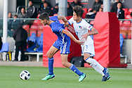 Mohammad Gadir of Israel (6) and Samuele Ricci of Italy (7) tussle for the ball during the UEFA European Under 17 Championship 2018 match between Israel and Italy at St George's Park National Football Centre, Burton-Upon-Trent, United Kingdom on 10 May 2018. Picture by Mick Haynes.