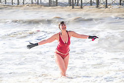 © Licensed to London News Pictures. 01/02/2020. Brighton, UK. Members of the Brighton Swimming Club go for a swim in thew sea in Brighton and Hove as sunny and milder weather is hitting the seaside resort. <br /> Photo credit: Hugo Michiels/LNP
