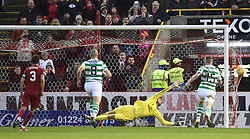 Aberdeen's Sam Cosgrove (not pictured) scores his side's third goal of the game from the penalty spot during the Scottish Premiership match at Pittodrie Stadium, Aberdeen.