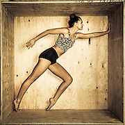 UVU Dance students Chandler and Sam in a wooden box in Will's Studio for this years dance poster on the campus of Utah Valley University in Orem , Utah, Tuesday, Feb. 2, 2016. (August Miller, UVU Marketing)