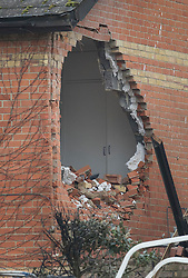 © Licensed to London News Pictures. 15/02/2017. Oxford, UK. A hole in the wall of an adjacent property after of a block of flats was destroyed in an explosion near Osney Lock in Oxford. A number of people have been injured in what is thought to have been a gas explosion. Photo credit: Peter Macdiarmid/LNP