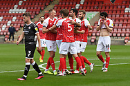Goal 1 - 0 Cheltenham celebrate after Crawley Town defender Tony Craig (24) had put through his own goal during the EFL Sky Bet League 2 match between Cheltenham Town and Crawley Town at Jonny Rocks Stadium, Cheltenham, England on 10 October 2020.