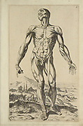 """Male full body front woodcut print at the opening of the Human Anatomy book """"Notomie di Titiano"""" Printed in Italy in 1670"""