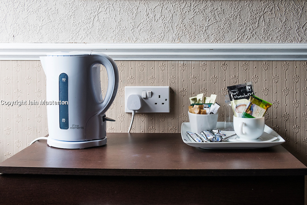 Detail of typical basic tea and coffee making facilities in old fashioned guesthouse in Scotland, United Kingdom