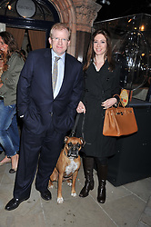 SCOTT & ISABELLE FREIDHEIM and their dog Bruno at The Dog's Trust Awards announcement held at George, 87-88 Mount Street, London on 27th March 2012.