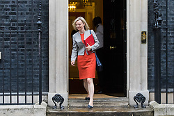 London, June 27th 2017. Chief Secretary to the Treasury Liz Truss leaves the weekly UK cabinet meeting at 10 Downing Street in London.