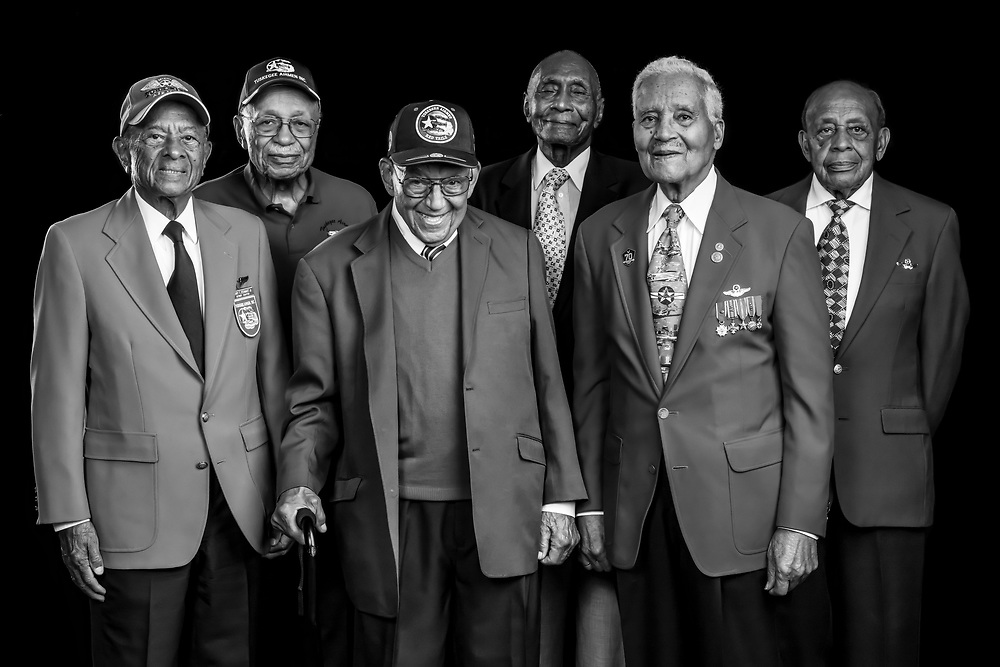 Six original Tuskegee Airmen, photographed  during the Atlanta Warbird Weekend, on 6 October, 2017. L to R are LTC. Harry T. Stewart, Mr. Oscar Lawton Wilkerson, LTC. Robert Friend, Dr. HIllard Pouncy, Col. Charles McGee, and LTC. Harold Brown.   <br /> <br /> Created by aviation photographer John Slemp of Aerographs Aviation Photography. Clients include Goodyear Aviation Tires, Phillips 66 Aviation Fuels, Smithsonian Air & Space magazine, and The Lindbergh Foundation.  Specialising in high end commercial aviation photography and the supply of aviation stock photography for advertising, corporate, and editorial use.