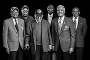 Six original Tuskegee Airmen, photographed  during the Atlanta Warbird Weekend, on 6 October, 2017. L to R are LTC. Harry T. Stewart, Mr. Oscar Lawton Wilkerson, LTC. Robert Friend, Dr. HIllard Pouncy, Col. Charles McGee, and LTC. Harold Brown.   <br />