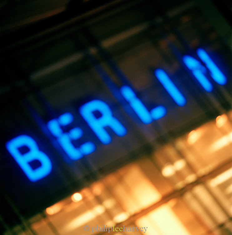 """Neon Illuminated """"Berin"""" sign, Berlin, Germany (out of focus)"""