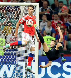 SOCHI, July 7, 2018  Andrej Kramaric (R) of Croatia attempts an overhead kick during the 2018 FIFA World Cup quarter-final match between Russia and Croatia in Sochi, Russia, July 7, 2018. (Credit Image: © Yang Lei/Xinhua via ZUMA Wire)