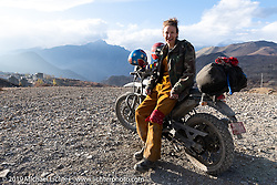 Danita Gayle outside Muktinath on Motorcycle Sherpa's Ride to the Heavens motorcycle adventure in the Himalayas of Nepal. On the fourth day of riding, we went from Kalopani to Muktinath. Thursday, November 7, 2019. Photography ©2019 Michael Lichter.