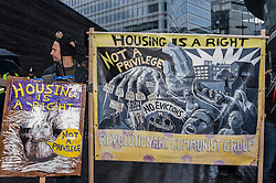 © Licensed to London News Pictures. 31/01/2015. City Hall, London, UK. Campaign groups, trade unionists and tenants march on London's City Hall to call on the Mayor of London, Boris Johnson, and councils to build new council homes and prevent current ones from being demolished or sold off to private developers. Photo credit : Stephen Chung/LNP