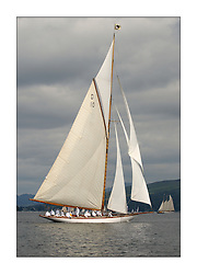 The Lady Anne, a 15 metre (95') Gaff Cutter built in 1912 originally for George Coats of Glasgow. Resplendent in white boiler suits...This the largest gathering of classic yachts designed by William Fife returned to their birth place on the Clyde to participate in the 2nd Fife Regatta. 22 Yachts from around the world participated in the event which honoured the skills of Yacht Designer Wm Fife, and his yard in Fairlie, Scotland...FAO Picture Desk..Marc Turner / PFM Pictures