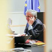 Antonio TAJANI , President of the European Parliament has a phonecall with the President of the National Assembly of Venezuela <br /> .<br /> .<br /> .<br /> @dainalelardic @isopixbelgium @europeanparliament @ep_president @AntonioTajani #picoftheday #photooftheday #parlementeuropeen #politics #europeanunion #brussels #portrait #euflag #flag #europe #europeanflag #cellphone #mobilephone #phonecall #smiling