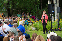 """Senator Elizabeth Warren speaks to the crowd gathered at Wednesday evenings """"House Party"""" in Wolfeboro.   (Karen Bobotas/for the Laconia Daily Sun)"""