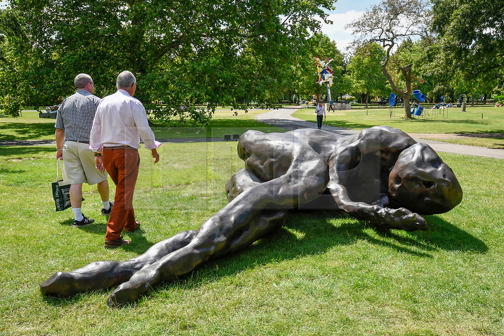 """© Licensed to London News Pictures. 03/07/2019. LONDON, UK. """"When I Sleep"""", 2018, by Tracey Emin. Frieze Sculpture opens in Regent's Park, London's largest free display of outdoor art.  Works from 23 international artists are on display 3 July to 6 October 2019.  Photo credit: Stephen Chung/LNP"""