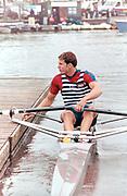 Henley on Thames, England, 1999 Henley Royal Regatta, River Thames, Henley Reach,  [© Peter Spurrier/Intersport Images], The Diamond Sculls Challenge Cup. USA M1X., Jamie KOVEN,