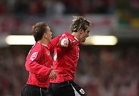 Photo: Lee Earle.<br /> Barnsley v Swansea City. Coca Cola League 1. Play off Final. 27/05/2006. Barnsley's Paul Hayes (R) is congratulated by Brian Howard after scoring the opening goal.