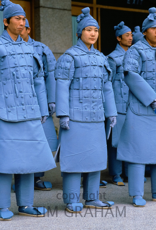 Chinese men dressed as Terracotta Warriors for cultural display in Xian, China