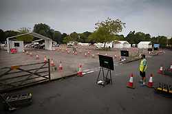 © Licensed to London News Pictures. 16/09/2020. Chessington, UK. A Coronavirus testing centre set up in a car park at Chessington World of Adventures, south west of London, remains mostly quiet with only a trickle of people arriving for tests. The Government have been criticised as people are facing delays getting tested for the virus. Photo credit: Peter Macdiarmid/LNP