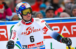 14.02.2020, Zwölferkogel, Saalbach Hinterglemm, AUT, FIS Weltcup Ski Alpin, Super G, Herren, im Bild Alexis Pinturault (FRA) // Alexis Pinturault of France reacts after his run for the men's SuperG of FIS Ski Alpine World Cup at the Zwölferkogel in Saalbach Hinterglemm, Austria on 2020/02/14. EXPA Pictures © 2020, PhotoCredit: EXPA/ Erich Spiess