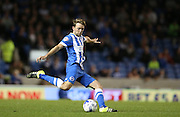 Brighton central midfielder, Dale Stephens shoots  during the Sky Bet Championship match between Brighton and Hove Albion and Rotherham United at the American Express Community Stadium, Brighton and Hove, England on 15 September 2015.