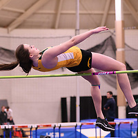 Jennifer Haczkewicz in action during the 2018 Canada West Track & Field Championship on February  24 at James Daly Fieldhouse. Credit: Arthur Ward/Arthur Images