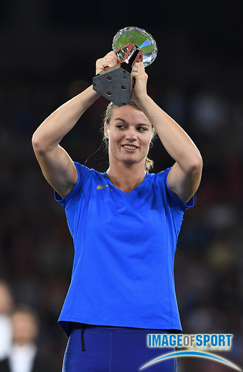 Sep 1, 2015; Zurich, SWITZERLAND; Dafne Schippers (NED) poses with the IAAF Diamond League women's 400m champion trophy at the 2016 Weltklasse Zurich during an IAAF Diamond League meeting at Letzigrund Stadium. Photo by Jiro Mochizuki