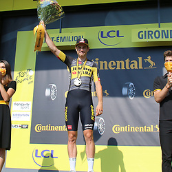 LIBOURNE (FRA) CYCLING: July 16<br /> 19th stage Tour de France Libourne- Saint-Émilion<br /> Wout van Aert who came to the Tour de France with the first ambition of winning sprints and wearing the yellow jersey claimed an impressive time trial victory in the vineyard of Saint-Émilion after the Mont Ventoux stage. Kasper Asgreen and Jonas Vingegaard rounded out the podium of stage 20.