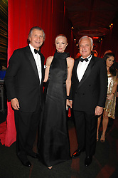 Left to right, ARNAUD BAMBERGER, JOELY RICHARDSON and BERNARD FORNAS at a dinner held at the Natural History Museum to celebrate the re-opening of their store at 175-177 New Bond Street, London on 17th October 2007.<br />