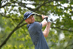 August 12, 2018 - St. Louis, Missouri, U.S. - ST. LOUIS, MO - AUGUST 12: Daniel Berger hits his shot on the #2 tee during the final round of the PGA Championship on August 12, 2018, at Bellerive Country Club, St. Louis, MO.  (Photo by Keith Gillett/Icon Sportswire) (Credit Image: © Keith Gillett/Icon SMI via ZUMA Press)