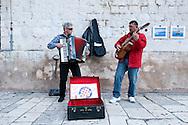 Buskers playing Croatian songs inside Diocletian's Palace, Split, Croatia © Rudolf Abraham