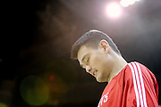 Oct 30, 2010; Houston, TX, USA; Houston Rockets center Yao Ming (11) takes the court before the game against the Denver Nuggets at the Toyota Center. Mandatory Credit: Thomas Campbell-US PRESSWIRE
