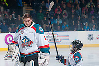 KELOWNA, CANADA - JANUARY 16: The Pepsi Save On Foods player of the game lines up with the Kelowna Rockets against the Seattle Thunderbirds on January 16, 2015 at Prospera Place in Kelowna, British Columbia, Canada.  (Photo by Marissa Baecker/Shoot the Breeze)  *** Local Caption *** Pepsi Save On Foods Player;