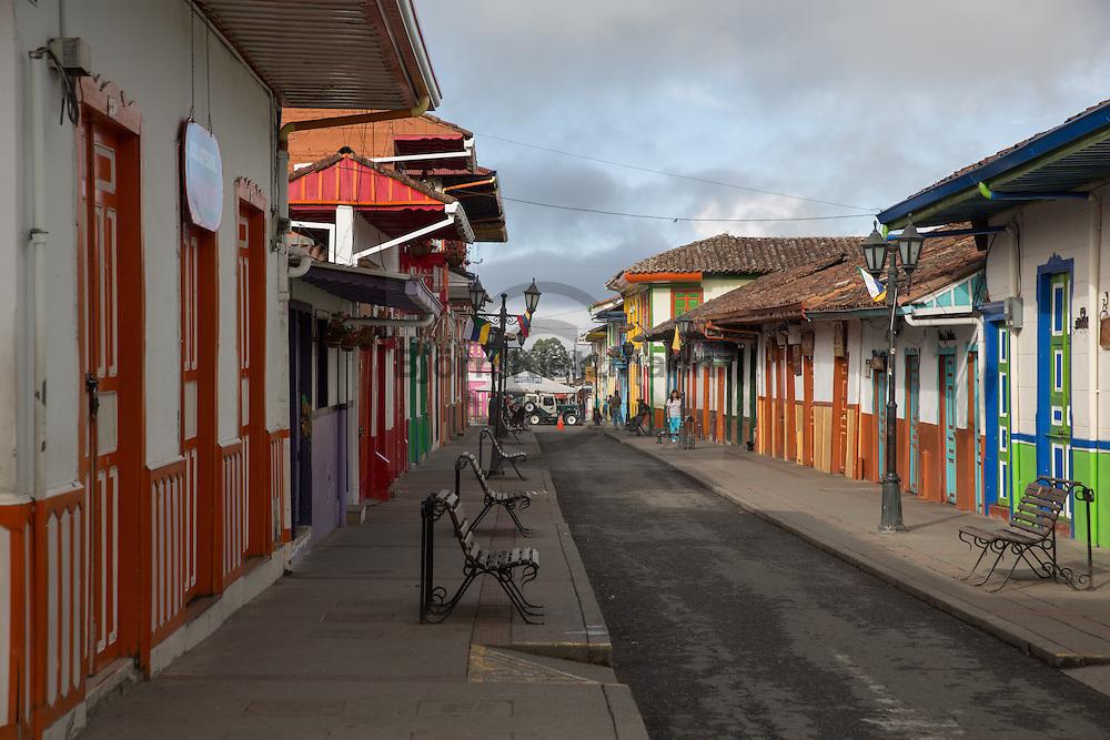 Salento, Quindío, Colombia - 05.09.2016        <br /> <br /> Impression of the Colombian coffee region.The small village Salento is a popular tourist spot, also because it has reserved the traditional architecture of the coffee area.<br /> <br /> Eindruecke aus der kolumbianische Kaffeeanbauregion. Das kleine Dorf Salento lockt zahlreiche Touristen an, auch weil es die traditionelle Architektur der Region bewahrt hat. <br /> <br /> Photo: Bjoern Kietzmann