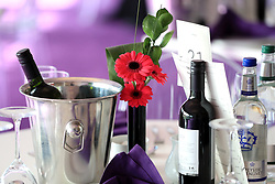 A general view of the Table place settings at the Final Fence Restaurant during St Patrick's Thursday of the 2018 Cheltenham Festival at Cheltenham Racecourse.