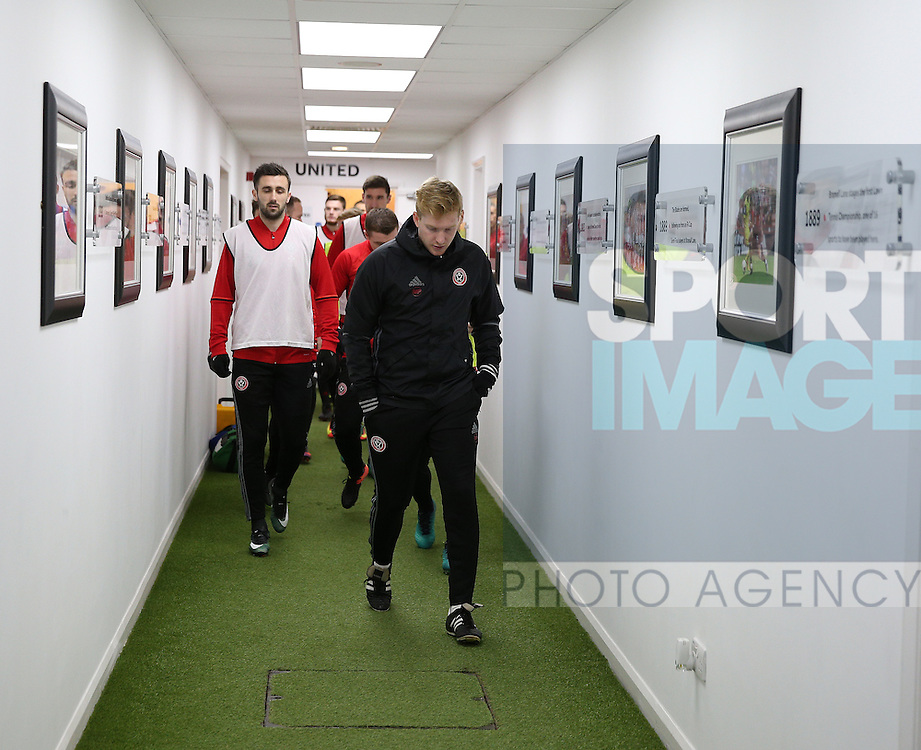 Matt Prestige leads out the teamduring the English League One match at Bramall Lane Stadium, Sheffield. Picture date: December 26th, 2016. Pic Simon Bellis/Sportimage
